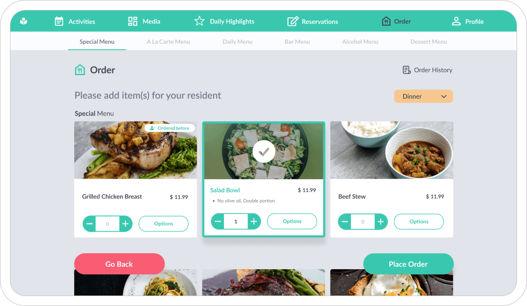 Easy menu management.